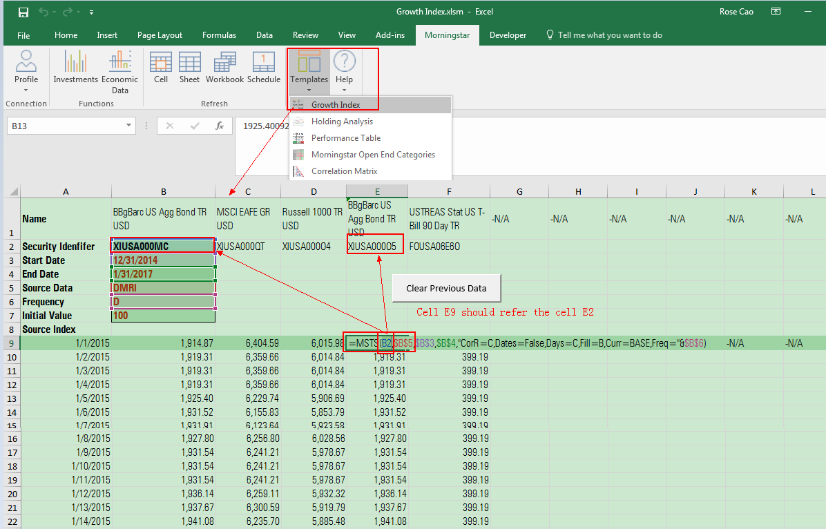 Morningstar Excel Add-In